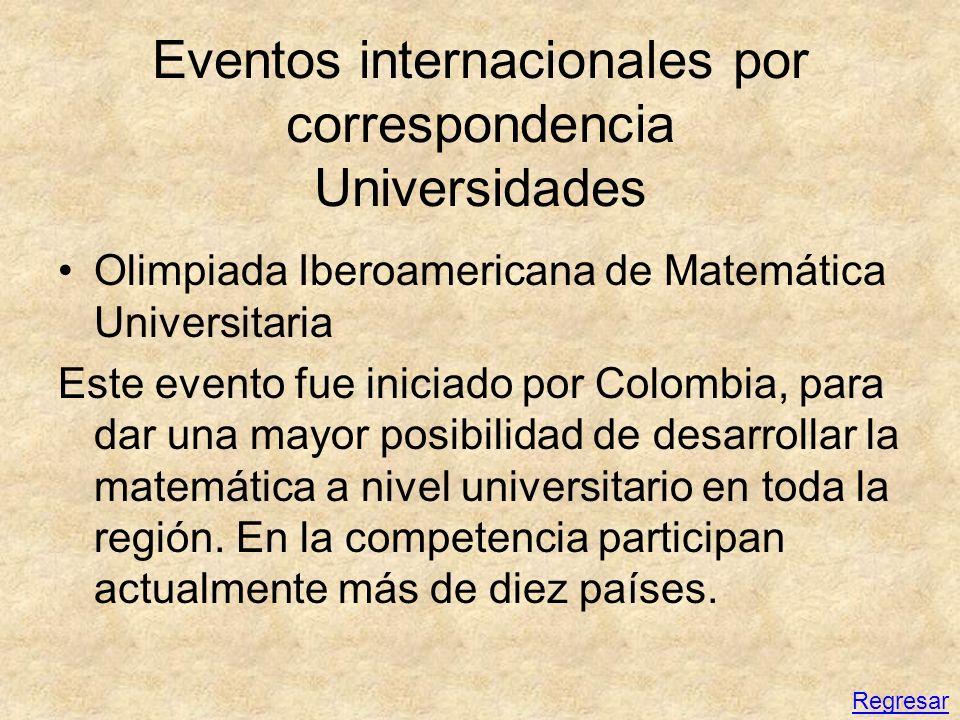 Eventos internacionales por correspondencia Universidades