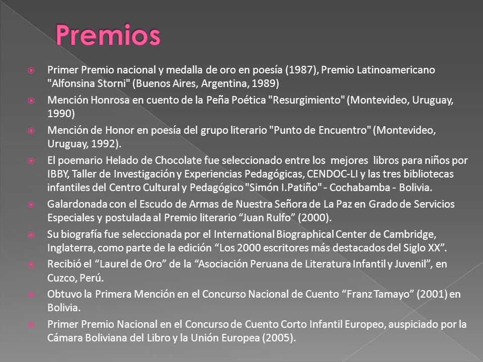 Premios Primer Premio nacional y medalla de oro en poesía (1987), Premio Latinoamericano Alfonsina Storni (Buenos Aires, Argentina, 1989)