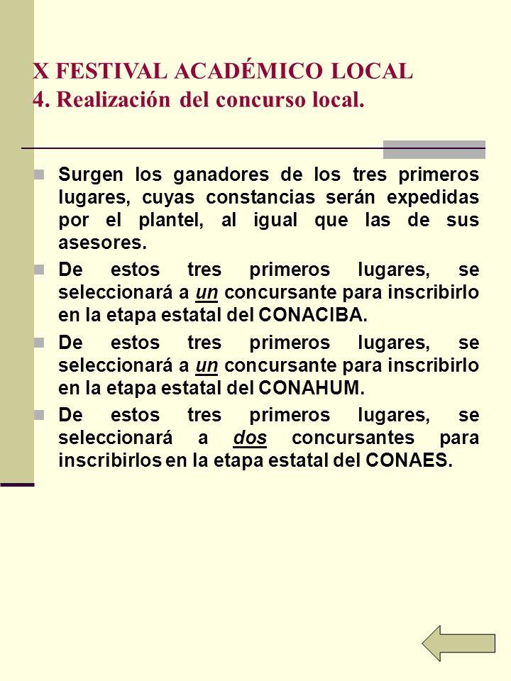 X FESTIVAL ACADÉMICO LOCAL 4. Realización del concurso local.