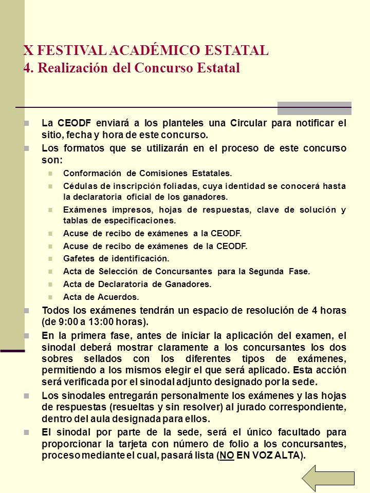 X FESTIVAL ACADÉMICO ESTATAL 4. Realización del Concurso Estatal