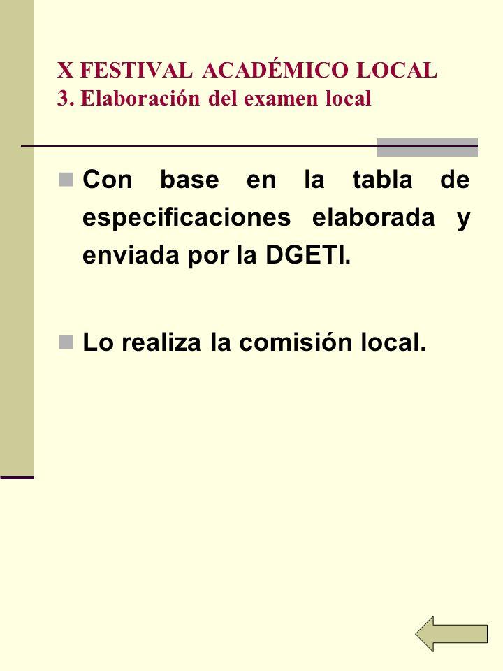 X FESTIVAL ACADÉMICO LOCAL 3. Elaboración del examen local