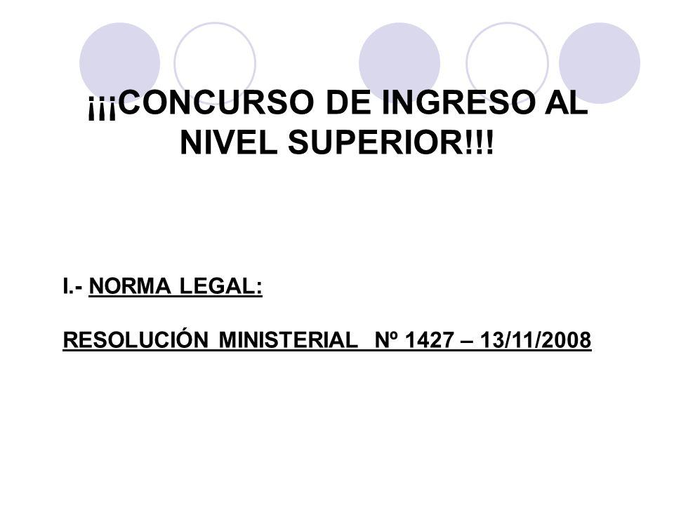 ¡¡¡CONCURSO DE INGRESO AL NIVEL SUPERIOR!!!