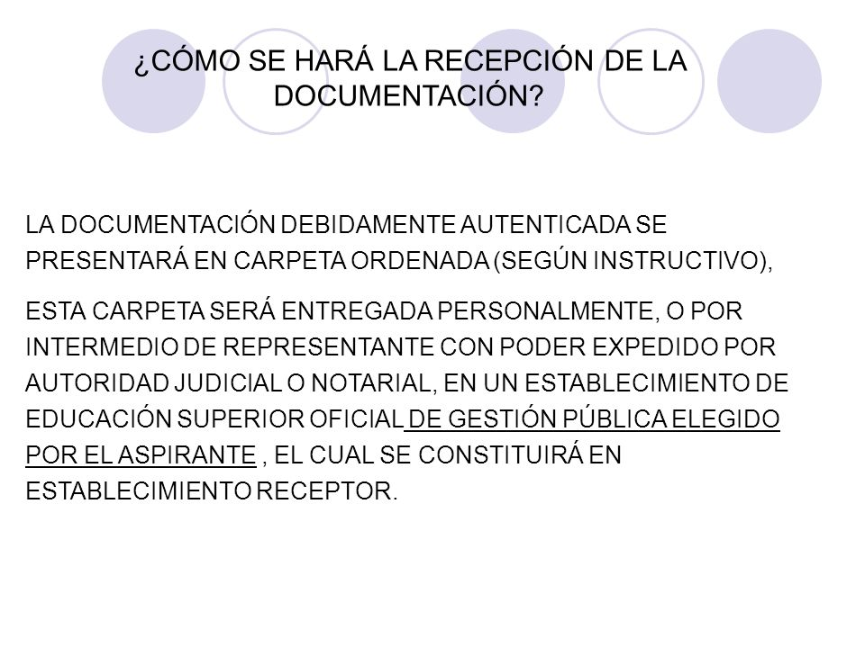 ¿CÓMO SE HARÁ LA RECEPCIÓN DE LA DOCUMENTACIÓN