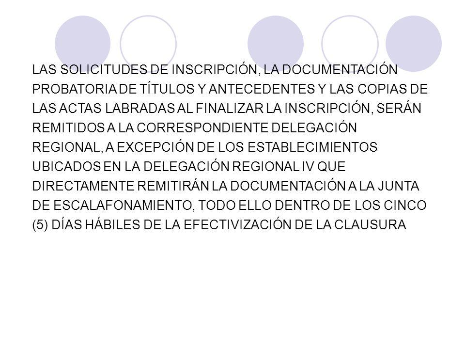 LAS SOLICITUDES DE INSCRIPCIÓN, LA DOCUMENTACIÓN PROBATORIA DE TÍTULOS Y ANTECEDENTES Y LAS COPIAS DE LAS ACTAS LABRADAS AL FINALIZAR LA INSCRIPCIÓN, SERÁN REMITIDOS A LA CORRESPONDIENTE DELEGACIÓN REGIONAL, A EXCEPCIÓN DE LOS ESTABLECIMIENTOS UBICADOS EN LA DELEGACIÓN REGIONAL IV QUE DIRECTAMENTE REMITIRÁN LA DOCUMENTACIÓN A LA JUNTA DE ESCALAFONAMIENTO, TODO ELLO DENTRO DE LOS CINCO (5) DÍAS HÁBILES DE LA EFECTIVIZACIÓN DE LA CLAUSURA