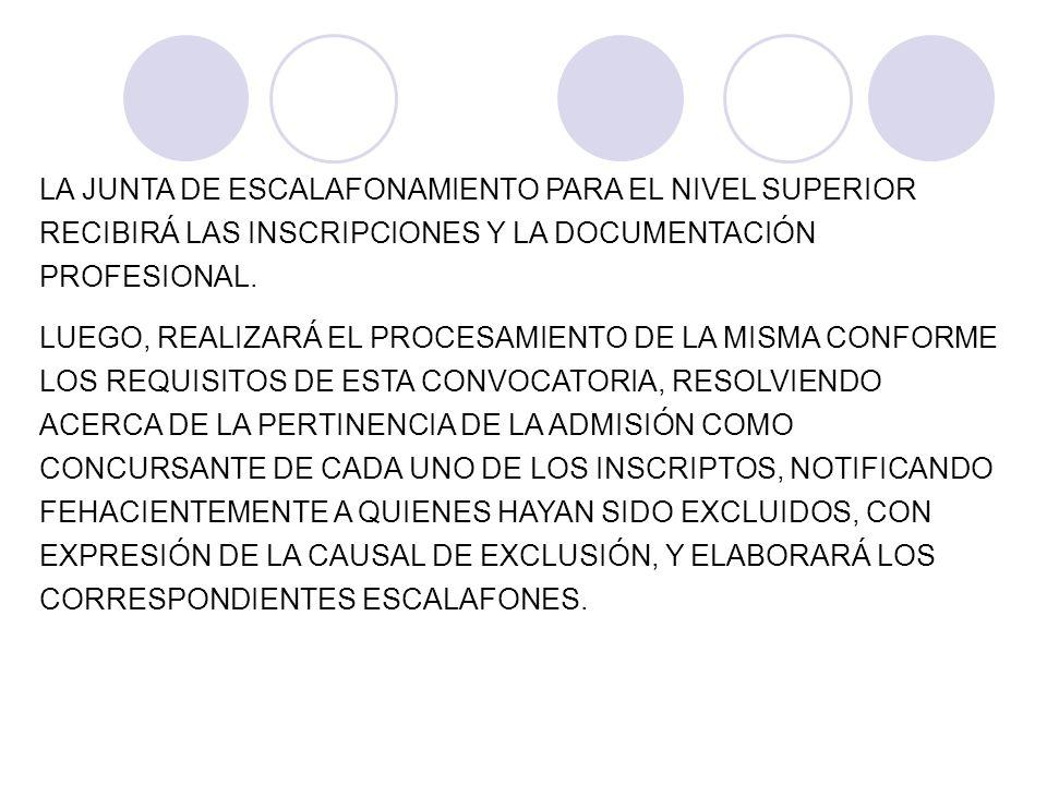 LA JUNTA DE ESCALAFONAMIENTO PARA EL NIVEL SUPERIOR RECIBIRÁ LAS INSCRIPCIONES Y LA DOCUMENTACIÓN PROFESIONAL.
