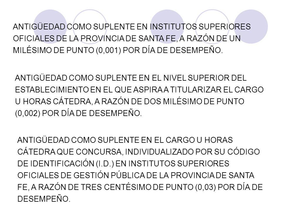 ANTIGÜEDAD COMO SUPLENTE EN INSTITUTOS SUPERIORES OFICIALES DE LA PROVINCIA DE SANTA FE, A RAZÓN DE UN MILÉSIMO DE PUNTO (0,001) POR DÍA DE DESEMPEÑO.