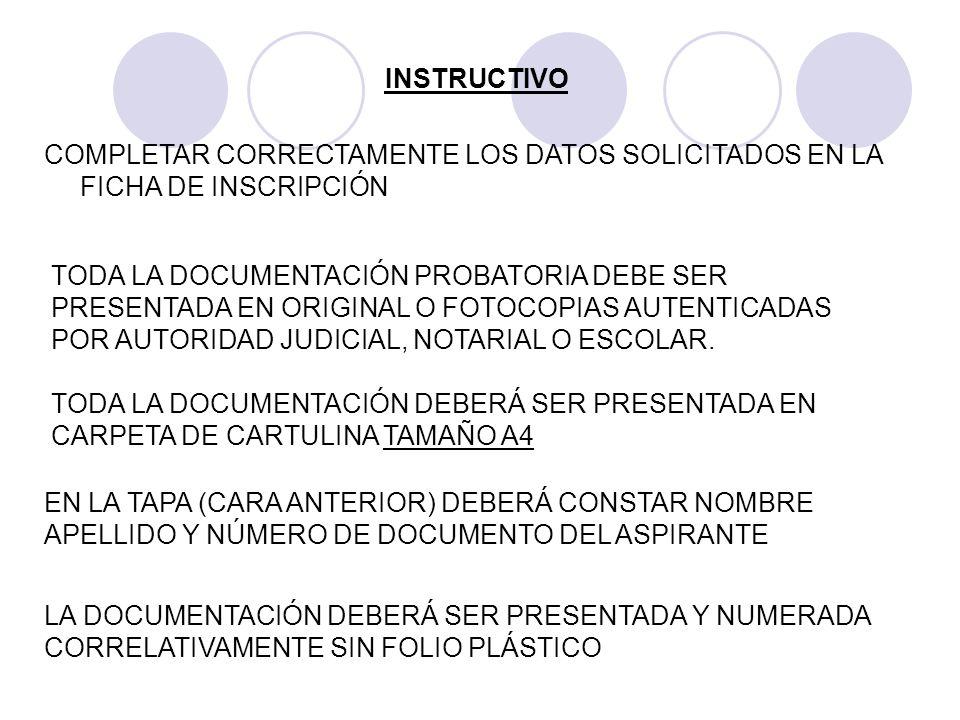 INSTRUCTIVO COMPLETAR CORRECTAMENTE LOS DATOS SOLICITADOS EN LA FICHA DE INSCRIPCIÓN.
