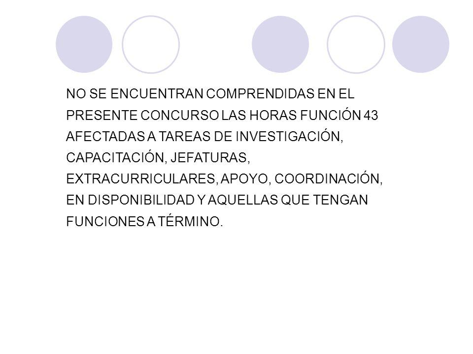 NO SE ENCUENTRAN COMPRENDIDAS EN EL PRESENTE CONCURSO LAS HORAS FUNCIÓN 43 AFECTADAS A TAREAS DE INVESTIGACIÓN, CAPACITACIÓN, JEFATURAS, EXTRACURRICULARES, APOYO, COORDINACIÓN, EN DISPONIBILIDAD Y AQUELLAS QUE TENGAN FUNCIONES A TÉRMINO.