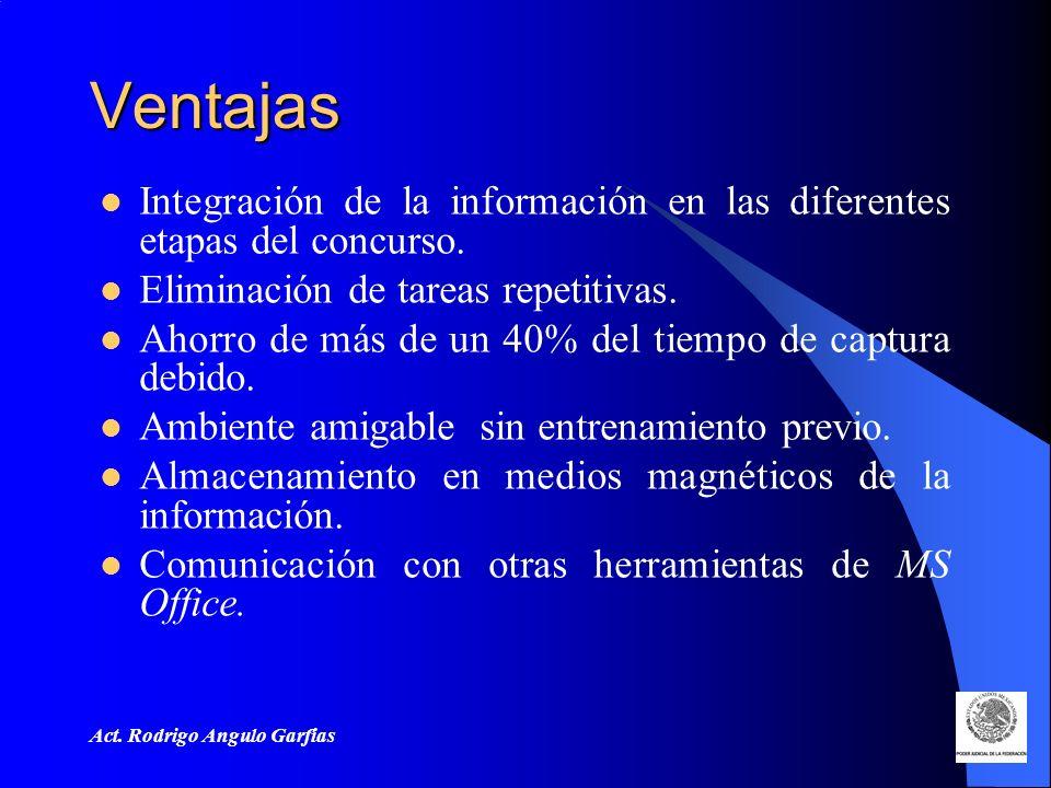 Ventajas Integración de la información en las diferentes etapas del concurso. Eliminación de tareas repetitivas.