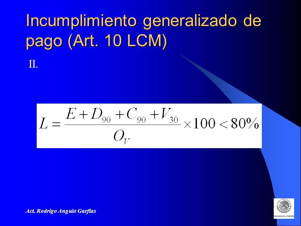 Incumplimiento generalizado de pago (Art. 10 LCM)