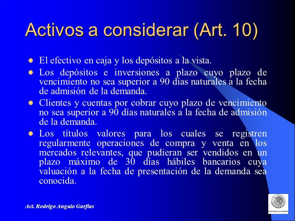 Activos a considerar (Art. 10)