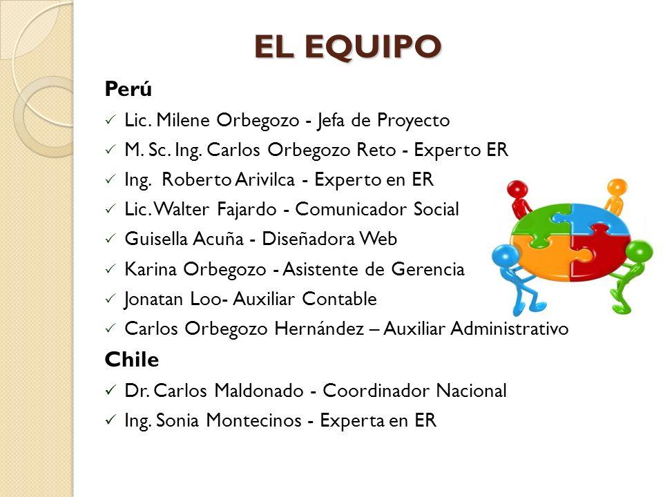 EL EQUIPO Perú Chile Lic. Milene Orbegozo - Jefa de Proyecto