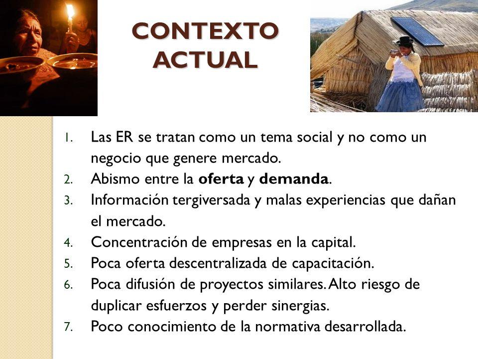 CONTEXTO ACTUAL Las ER se tratan como un tema social y no como un negocio que genere mercado. Abismo entre la oferta y demanda.