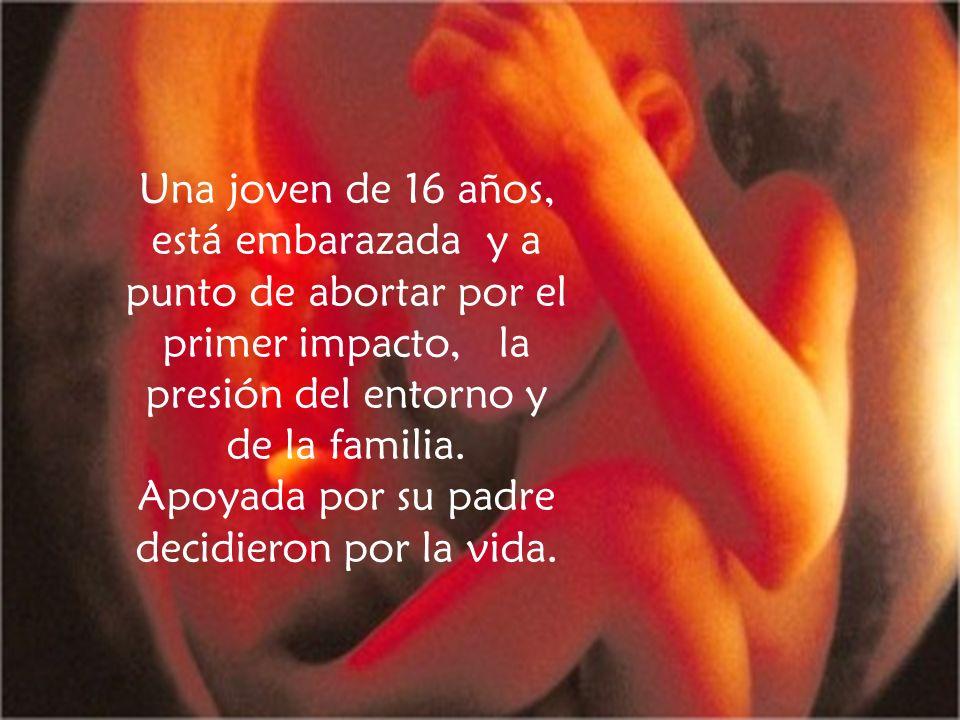 Una joven de 16 años, está embarazada y a punto de abortar por el primer impacto, la presión del entorno y de la familia.