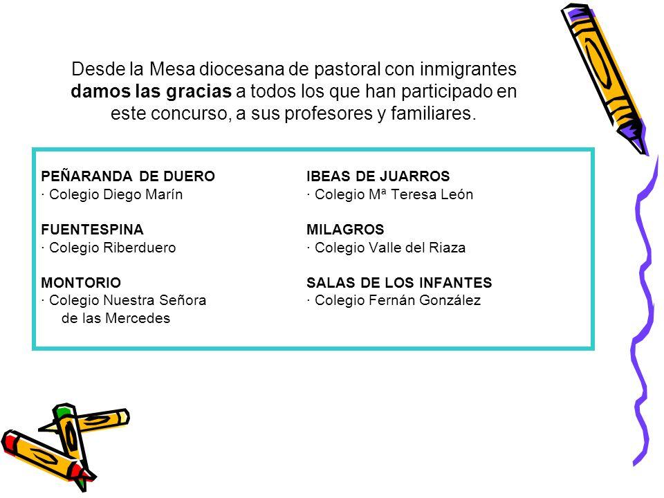 Desde la Mesa diocesana de pastoral con inmigrantes damos las gracias a todos los que han participado en este concurso, a sus profesores y familiares.