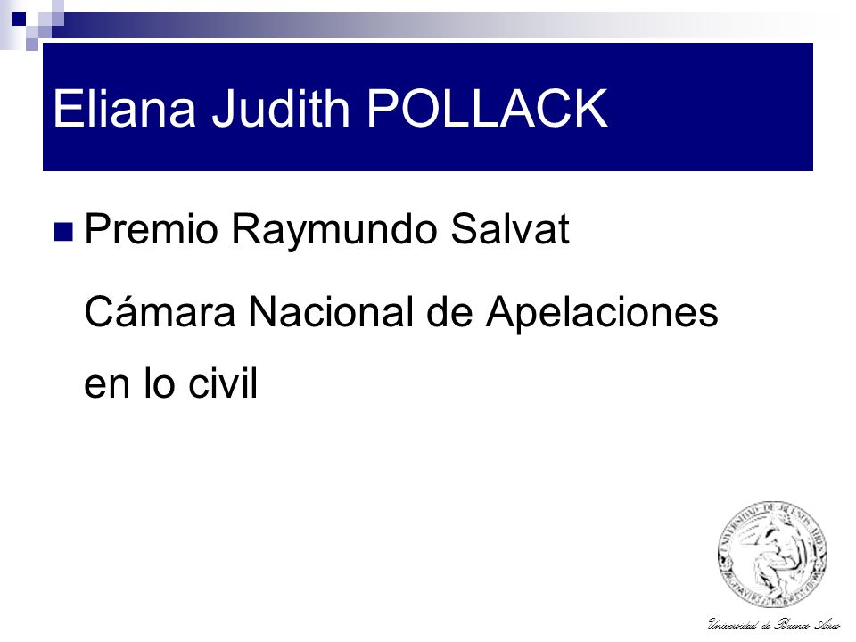 Eliana Judith POLLACK Premio Raymundo Salvat