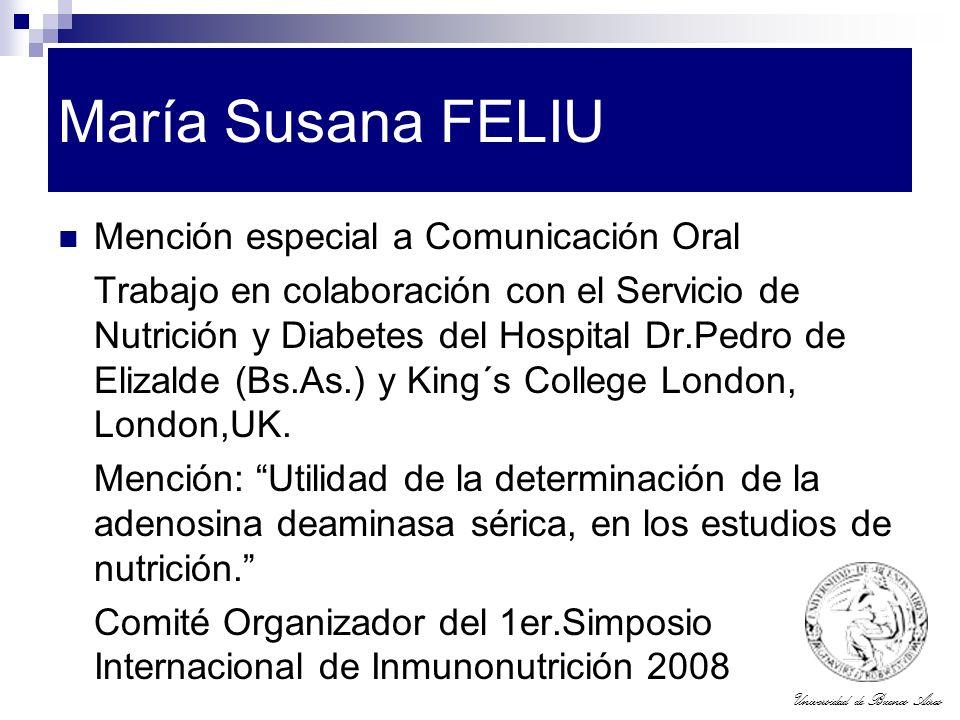 María Susana FELIU Mención especial a Comunicación Oral
