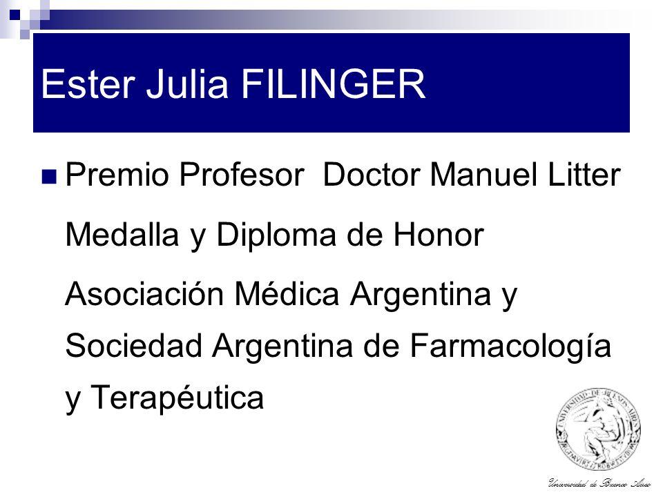 Ester Julia FILINGER Premio Profesor Doctor Manuel Litter