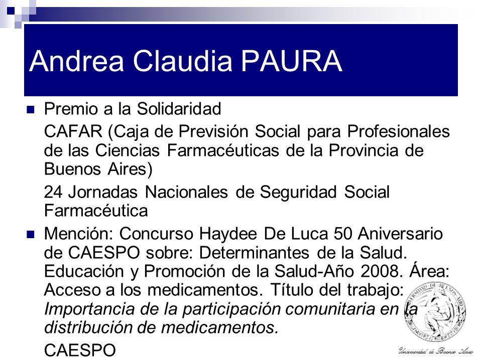 Andrea Claudia PAURA Premio a la Solidaridad