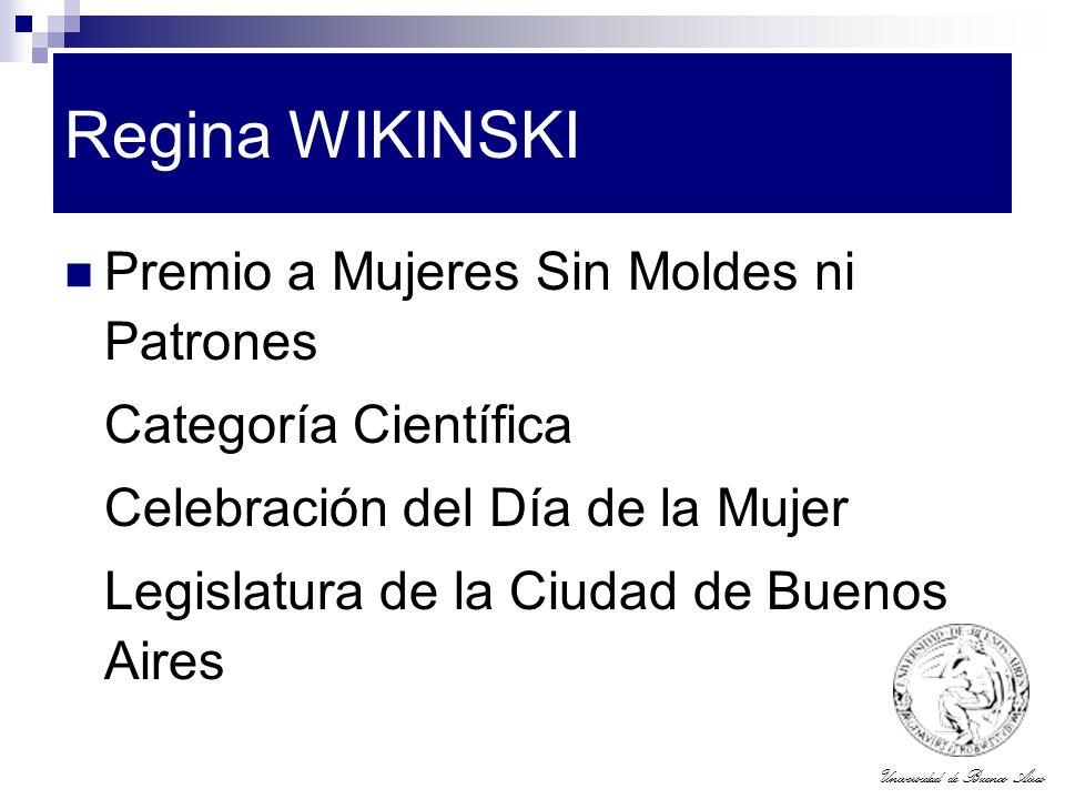 Regina WIKINSKI Premio a Mujeres Sin Moldes ni Patrones