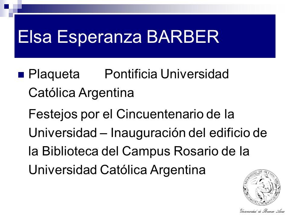 Elsa Esperanza BARBER Plaqueta Pontificia Universidad Católica Argentina.