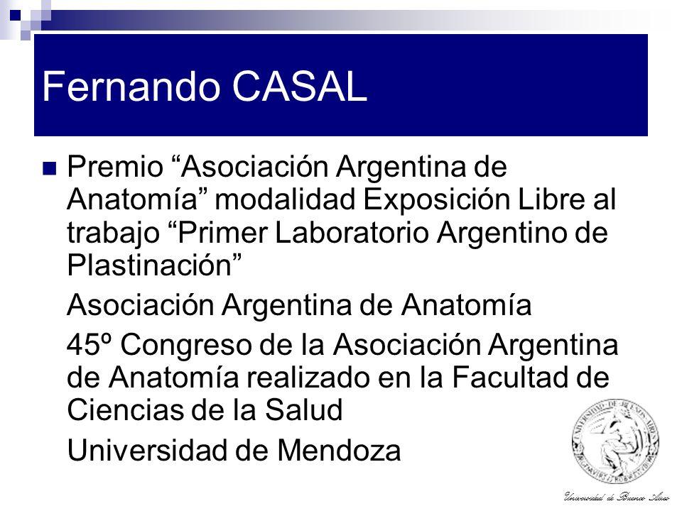 Fernando CASAL Premio Asociación Argentina de Anatomía modalidad Exposición Libre al trabajo Primer Laboratorio Argentino de Plastinación