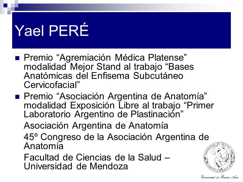 Yael PERÉ Premio Agremiación Médica Platense modalidad Mejor Stand al trabajo Bases Anatómicas del Enfisema Subcutáneo Cervicofacial