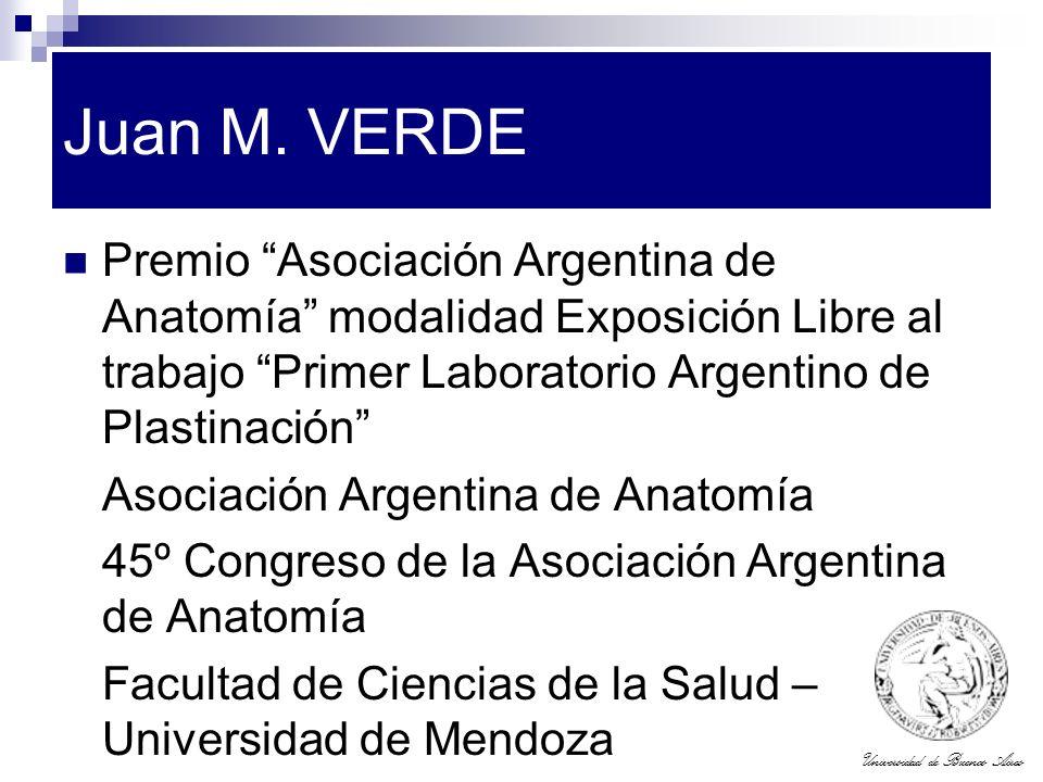 Juan M. VERDE Premio Asociación Argentina de Anatomía modalidad Exposición Libre al trabajo Primer Laboratorio Argentino de Plastinación