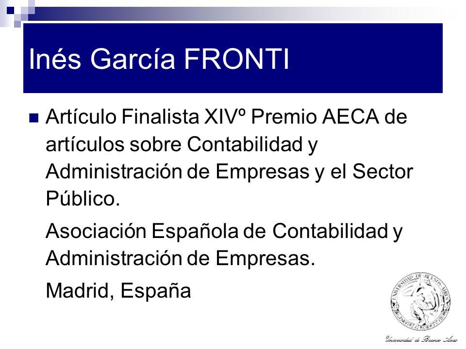 Inés García FRONTI Artículo Finalista XIVº Premio AECA de artículos sobre Contabilidad y Administración de Empresas y el Sector Público.