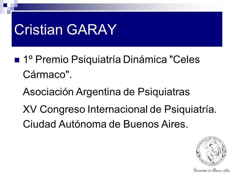 Cristian GARAY 1º Premio Psiquiatría Dinámica Celes Cármaco .