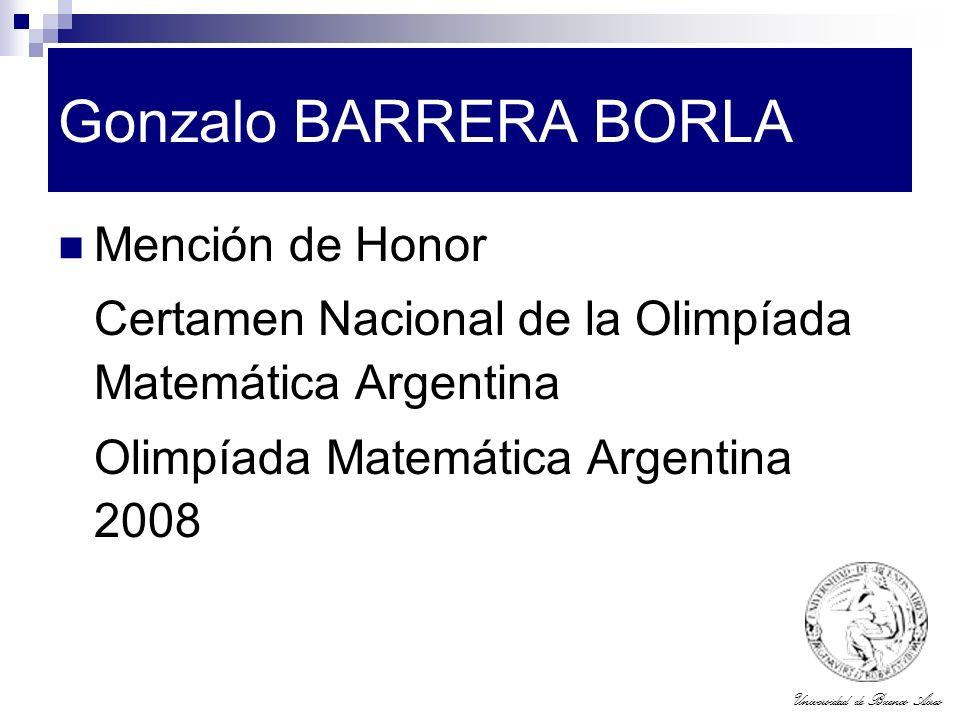 Gonzalo BARRERA BORLA Mención de Honor