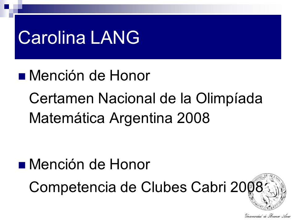 Carolina LANG Mención de Honor