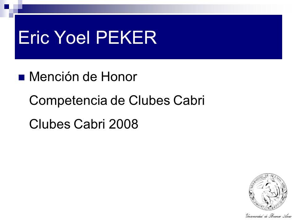Eric Yoel PEKER Mención de Honor Competencia de Clubes Cabri