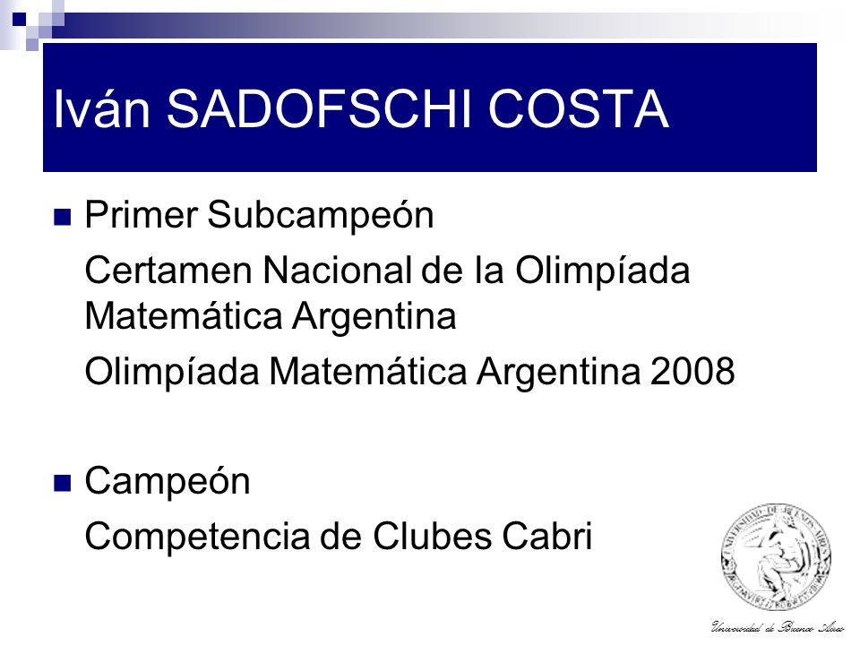 Iván SADOFSCHI COSTA Primer Subcampeón