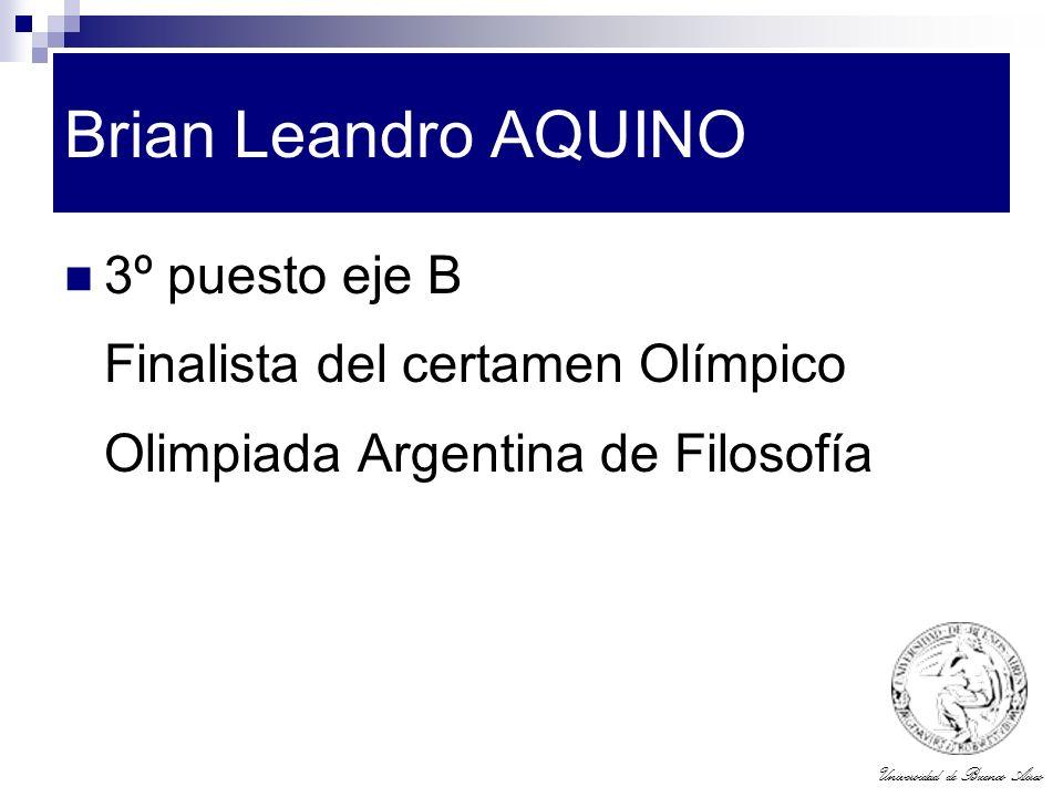 Brian Leandro AQUINO 3º puesto eje B Finalista del certamen Olímpico