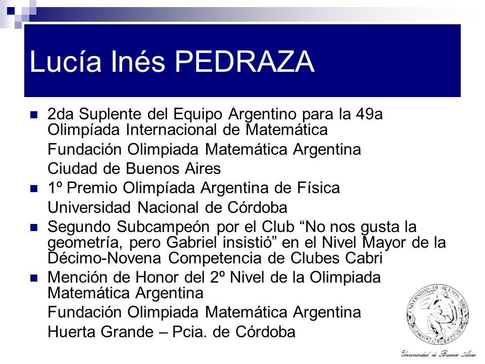Lucía Inés PEDRAZA 2da Suplente del Equipo Argentino para la 49a Olimpíada Internacional de Matemática.
