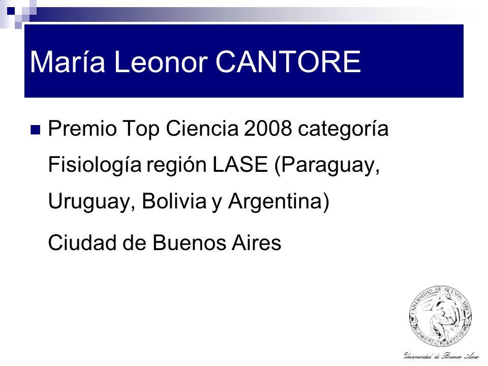 María Leonor CANTORE Premio Top Ciencia 2008 categoría Fisiología región LASE (Paraguay, Uruguay, Bolivia y Argentina)
