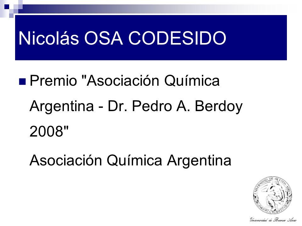Nicolás OSA CODESIDO Premio Asociación Química Argentina - Dr.