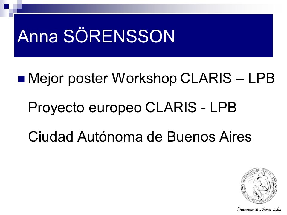Anna SÖRENSSON Mejor poster Workshop CLARIS – LPB