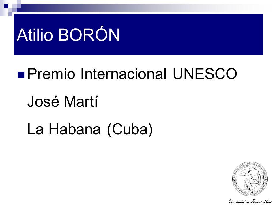 Atilio BORÓN Premio Internacional UNESCO José Martí La Habana (Cuba)