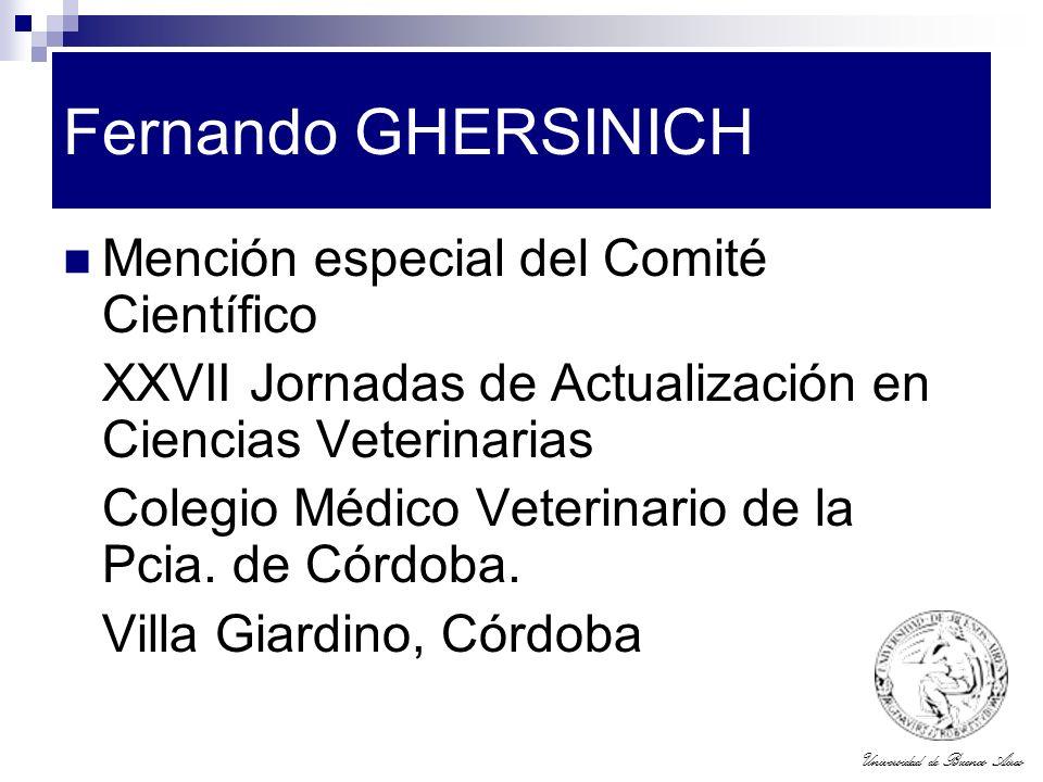 Fernando GHERSINICH Mención especial del Comité Científico