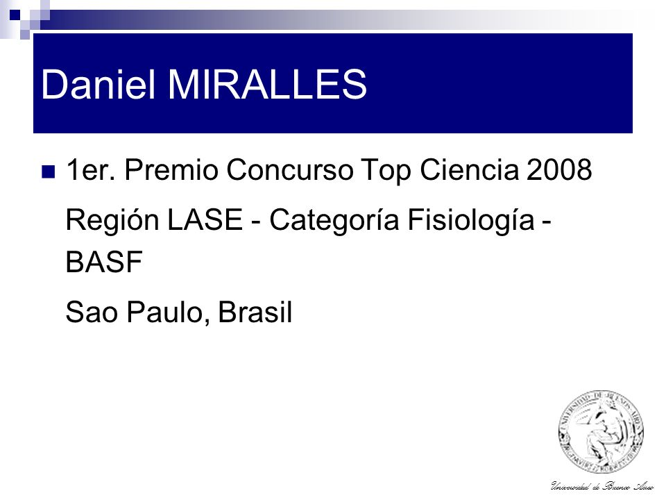 Daniel MIRALLES 1er. Premio Concurso Top Ciencia 2008
