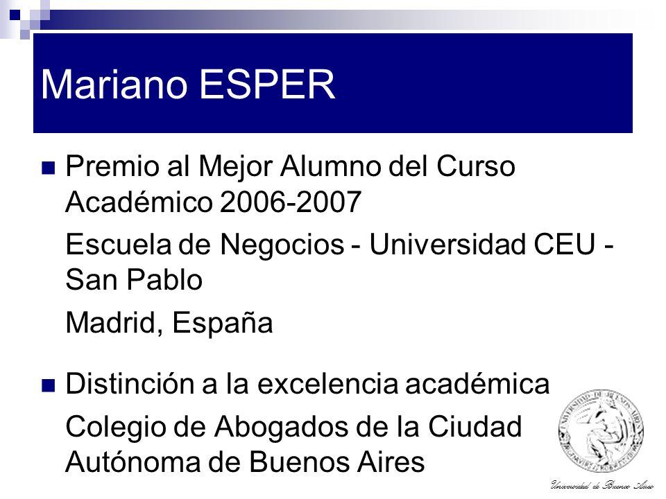 Mariano ESPER Premio al Mejor Alumno del Curso Académico 2006-2007