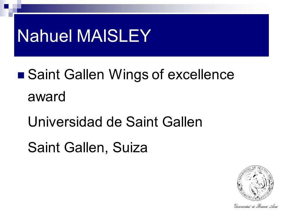 Nahuel MAISLEY Saint Gallen Wings of excellence award