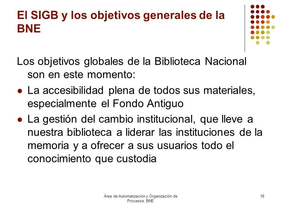 El SIGB y los objetivos generales de la BNE