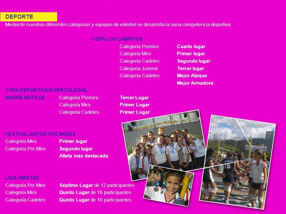 DEPORTE Mediante nuestras diferentes categorías y equipos de voleibol se desarrolla la sana competencia deportiva.