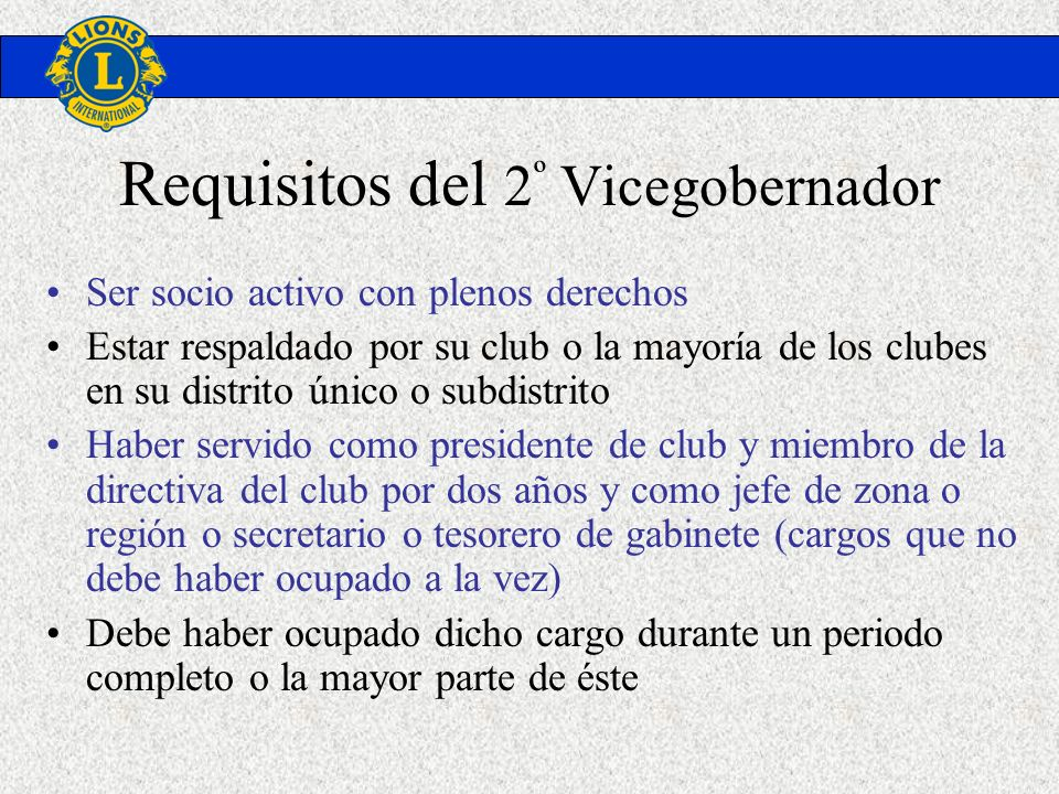 Requisitos del 2º Vicegobernador