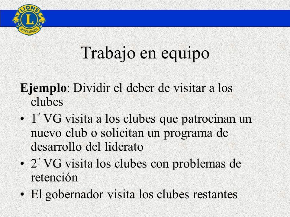 Trabajo en equipo Ejemplo: Dividir el deber de visitar a los clubes