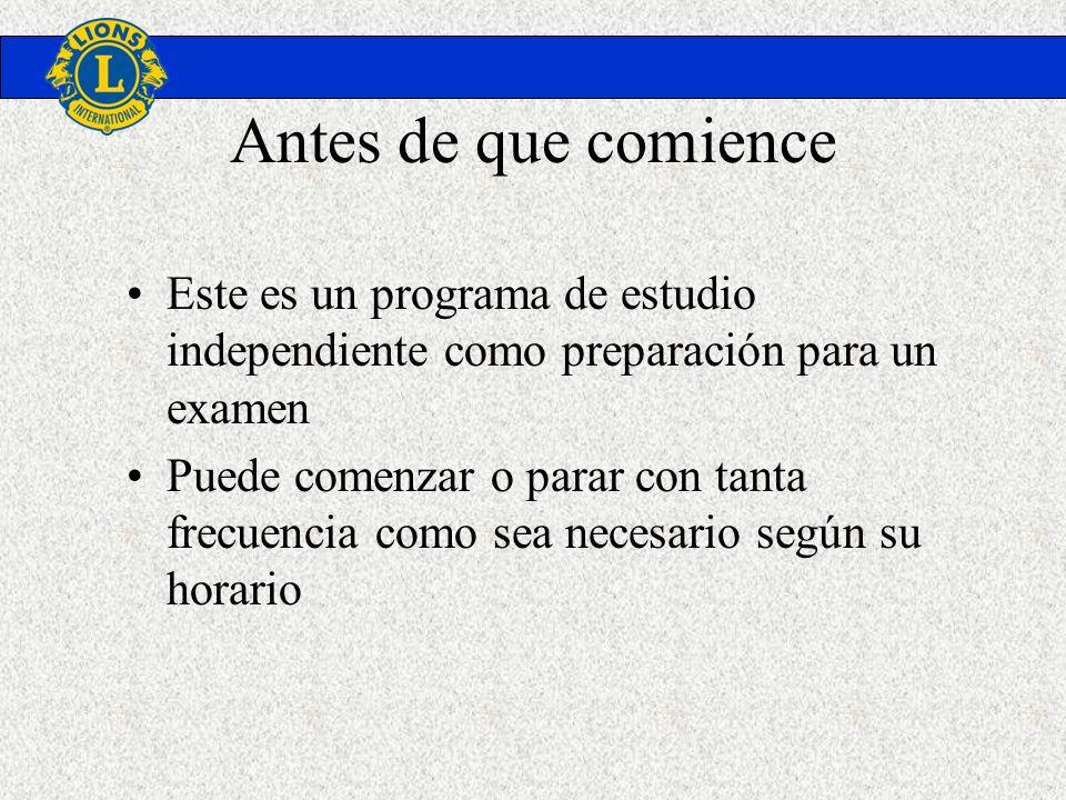 Antes de que comienceEste es un programa de estudio independiente como preparación para un examen.
