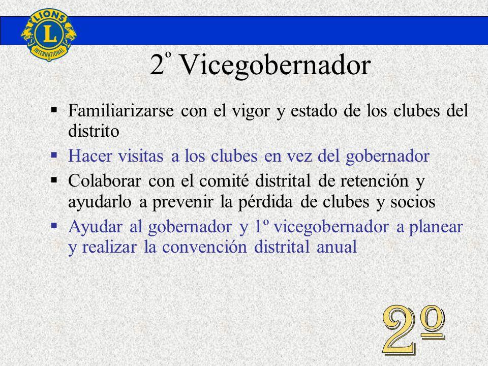 2º VicegobernadorFamiliarizarse con el vigor y estado de los clubes del distrito. Hacer visitas a los clubes en vez del gobernador.